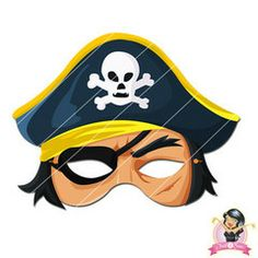 Childrens Printable Pirate Mask - Yellow | Simply Party Supplies Printable Masks, Printables, Half Mask, Printer Paper, Hole Punch, Print And Cut, Pirates, Yellow, Blue