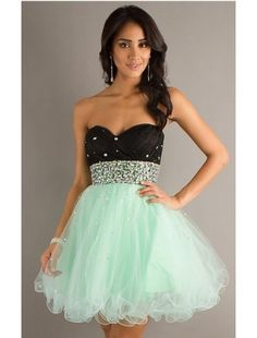 Short Strapless Two Tone Babydoll Dress
