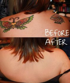 TATTOO COVER UP BEFORE AND AFTER- Not  feeling your tattoos wit your wedding dress? find a great makeup artist who  offers  airbrush tattoo cover up. It will not smudge, provides great even coverage and  will not rub off on your guests or your groom
