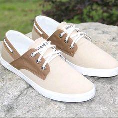 Chaussures bateau Homme Sneakers casual shoes canvas toile chic marron et beige