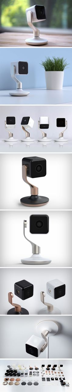 Designed by Yves Behar and Fuseproject, the Hive View looks like a GoPro on a throne that swivels 360° on both vertical and horizontal axes, allowing it to point any which way you choose. The aluminum arm that holds the camera even transfers power to the cube-shaped camera that can be detached from its base, extending the functionality of the security camera.