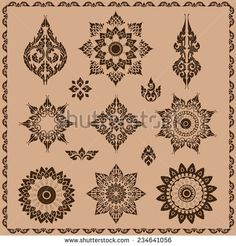 set of thai ornament, thai vintage elements design,thai culture decorative border template. thai art.