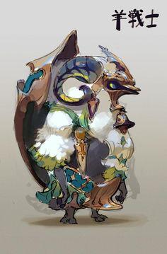 羊タンク戦士もモフかっこいいかもしれん。 Monster Design, Monster Art, Creature Concept Art, Creature Design, Character Design Animation, Character Design References, Monster Characters, Fantasy Characters, Character Concept