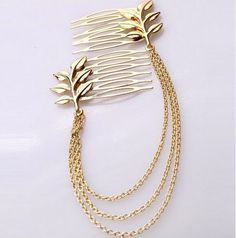 Gold Leaf Comb Hair Chain                                                                                                                                                      More