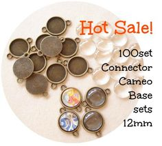 100sets Bulk Save Antiqued Bronze Cameo Base Connector 2 Sided Link14mm(12mm) w Clear Glass Cabochon B784A by yooounique on Etsy