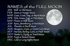 The moon has been a calendar for centuries.  Each is named according to the season and will give you a clue what to expect in the coming weeks.