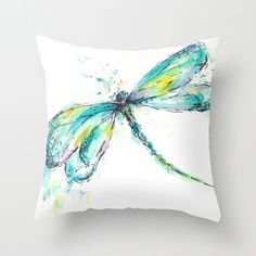 Watercolor Dragonfly Throw Pillow by Consie Sindet | Society6