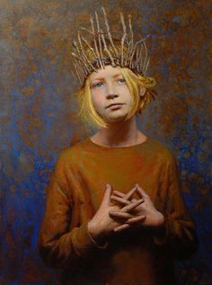 """The Unfolding"" - Seth Haverkamp (b. 1980), oil on panel {contemporary figurative art blonde female head crown girl face portrait cropped painting detail #loveart} sethhaverkamp.com"