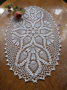 Oval crochet doily, pineapple crochet doily, oval lace doily, ecru doilies, 20 X 11 Crochet Table Runner Pattern, Free Crochet Doily Patterns, Crochet Doily Diagram, Crochet Lace Edging, Crochet Cross, Crochet Tablecloth, Crochet Art, Thread Crochet, Vintage Crochet