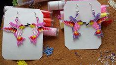 Hummingbird earrings made w/ delica beads