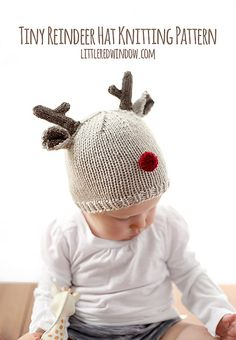 Cute little reindeer hat knitting pattern complete with antlers and a red nose! Available in one size for free or upgrade to pdf version.