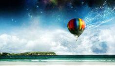 Beach fantasy hot air balloon free download hi res high resolution wallpapers