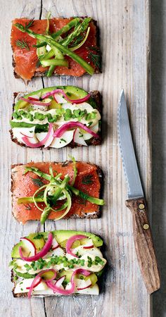 Smorrebrod These Danish open-faced sandwiches from The Natural Food Kitchen make a great lunch, or if made smaller can become lovely canapes. Open Faced Sandwich, Snacks Sains, Scandinavian Food, Danish Food, Cooking Recipes, Healthy Recipes, Vegetarian Recipes, Nutrition, Clean Eating Snacks