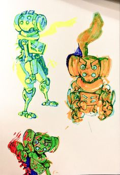 Highlighter and colored pen drawings