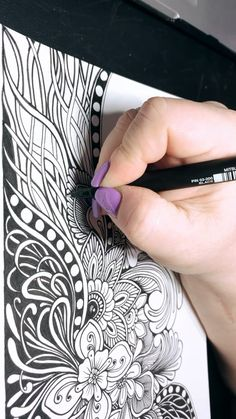 Doodle Art Drawing, Zentangle Drawings, Mandala Drawing, Cool Art Drawings, Zentangle Patterns, Zentangles, Mandala Art Therapy, Mandala Art Lesson, Doodle Art Designs