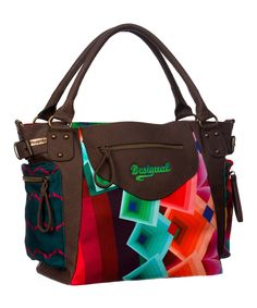 Another great find on #zulily! Brown & Red Abstract Square Tote by Desigual #zulilyfinds