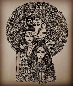 Madhubani Art, Madhubani Painting, Doodle Art Drawing, Mandala Drawing, Mandala Art Lesson, Kalamkari Painting, Art Drawings Sketches Simple, Ganesha Art, Indian Folk Art