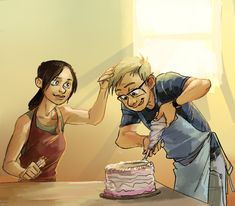 Cake by tribute27.deviantart.com - human!Wheatley/Chell - Portal 2