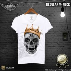 Diamond Skull Mens T-shirt The Last King Gold Crown Premium RB Design Top MD437