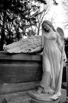 The Angelic Realm: Cemetery angel. Cemetery Monuments, Cemetery Statues, Cemetery Art, Angels Among Us, Angels And Demons, Angel Sculpture, Sculpture Art, Memes Arte, Old Cemeteries