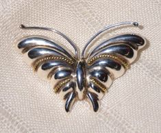 af00af461 BEAUTIFUL STERLING SILVER LATON PUFFY BUTTERFLY PIN BROOCH, TAXCO MEXICO  TB-169 #Laton