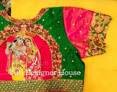 Only way you can conquer Him is through Love and there He is gladly conquered! Radhe❤Krishna cutwork multicolor bridal blouse by YUTI! For Orders and Queries reach us at or Address: Moosa street, TNagar, Chennai. Kids Blouse Designs, Bridal Blouse Designs, Blouse Neck Designs, Hand Work Embroidery, Embroidery Patterns, Blue Bridal, Radhe Krishna, Pink And Green, Maggam Works