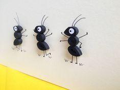 Drei Ameisen Auf Creme Hintergrund Quilling Kunst Grusskarte
