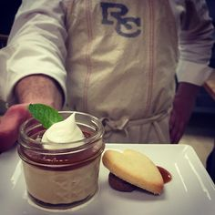 And for dessert, butterscotch budino with rum caramel, whipped cream and a vanilla bean shortbread cookie. | The Ranch at Rock Creek, Philipsburg, Montana || Relais & Chateaux