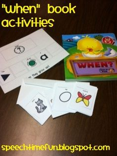 """When"" book found at the dollar store!  Check out ideas for use in speech therapy and free downloads from Speech Time Fun!"