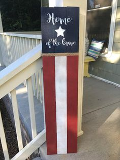 Happy Birthday Sign Discover Tall HOME of the BRAVE Red White and Blue Palette board Porch/Patio Sign 45 Tall Red White and Blue Palette board Porch/Patio Patriotic Crafts, July Crafts, Holiday Crafts, Americana Crafts, Patriotic Party, Patio Signs, Front Porch Signs, Fence Signs, Flag Signs
