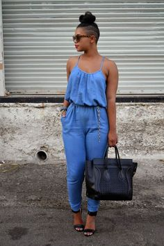 Fashion Spaghetti Strap Sleeveless Backless Solid Blue Cotton Blend One-piece Regular Jumpsuit without Belt Look Fashion, Girl Fashion, Fashion Outfits, Womens Fashion, Casual Chic, Casual Wear, Dope Outfits, Casual Outfits, Jeans Overall