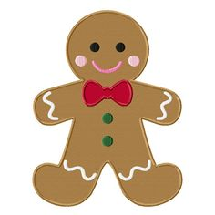 Christmas Gingerbread Man Applique Machine Embroidery Design INSTANT DOWNLOAD Professionally Digitized Super Cute!  Buy 3 get 1 design FREE! on Etsy, $3.49