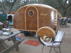 Beautiful Custom Built Wooden Teardrop Trailer With Great Shape Tiny Trailers, Small Trailer, Vintage Campers Trailers, Retro Campers, Vintage Caravans, Camper Trailers, Vintage Rv, Trailer Tent, Vintage Airstream