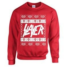 SLAYER ugly christmas sweater 666 slipknot metal hardcore punk ❤ liked on Polyvore featuring tops, sweaters, red christmas sweater, metal sweaters, punk rock christmas sweaters, punk tops and punk rock sweaters