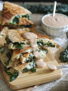 Smashed White Bean Quesadillas with Creamy BBQ Dip by Running to the Kitchen