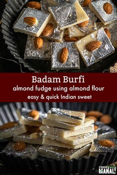 Easy Badam Burfi (Almond Fudge) made with store bought Almond Flour! You need less than 20 minutes to make this sweet! Easy Indian Dessert Recipes, Easy No Bake Desserts, Indian Desserts, Indian Sweets, Köstliche Desserts, Sweets Recipes, Indian Food Recipes, Delicious Desserts, Easy Indian Sweet Recipes