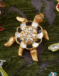 George Turtle with Pave Shell Tack Pin - Flora: George Turtle with Pave Shell Tack Pin - Flora