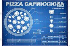 Pizza Capricciosa ingredients blueprint scheme by Vitamin on @creativemarket