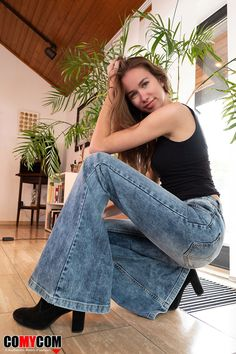 0adaf6488c Blue jeans with ample range - jeans flare pants made of stretch denim by  Comycom