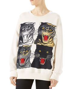 GUCCI Tiger Face Oversize Sweatshirt, White. #gucci #cloth #