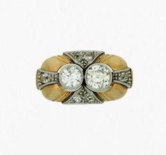Anillo años 40 con oro y brillantes - 1940's ring with gold and brilliant cut diamonds
