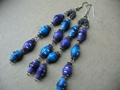 Purple and Blue paper bead earrings by stillrain on Etsy