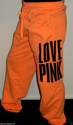 VICTORIA'S SECRET SWEATPANTS LOVE PINK SWEATS PEACH CAMPUS PANTS SIZE LARGE NWT #VictoriasSecret #TrackSweatPants