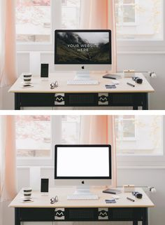 iMac Home Office Table (Psd Mockup) Tech Branding, Identity Branding, Mockup, Table Template, Home Office Table, Iphones For Sale, Ipad Stand, Free Photoshop, Stationery Design