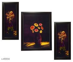 Paintings & Posters Stylish Wall Paintings (Set Of 3) Material: Wood and Plastic Dimension(LxW): Frame 1 - 12.5 in X 5.2 in Frame 2 - 12.5 in X 9.5 in Frame 3 - 12.5 in X 5.2 in Description: It Has 3 Pieces Of Frames With Paintings (Glass Is Not Included) Work: Printed Country of Origin: India Sizes Available: Free Size   Catalog Rating: ★4.1 (3479)  Catalog Name: Spiritual Wall Paintings Vol 10 CatalogID_49658 C127-SC1611 Code: 442-455514-
