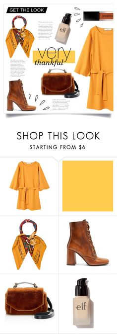 """very thankful"" by ayashazeta on Polyvore featuring MANGO, Hermès, Old Navy, Prada, Maje and e.l.f."