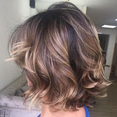 Curly Brown Balayage Bob