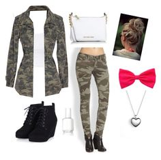 """""""Camo Outfit"""" by fashionlifeforevaaa ❤ liked on Polyvore featuring True Religion, Michael Kors, Topshop, Velvet by Graham & Spencer, Essie, Pandora, women's clothing, women, female and woman"""