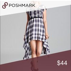 Free People Plaid Dress Free People Rad For Plaid extra Small, adorable embroidered Babydoll cut top high low plaid dress, has original slip Free People Dresses High Low