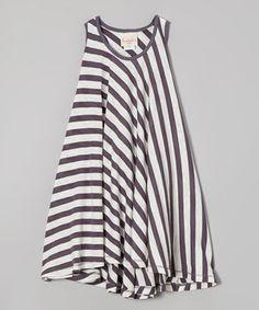 Look what I found on #zulily! Gray & White Stripe Twirl Dress - Girls by Buckleberry Kids #zulilyfinds